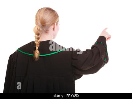Woman polish lawyer back view pointing direction with finger - Stock Photo