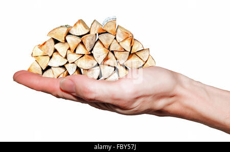 Hand holding firewood stack