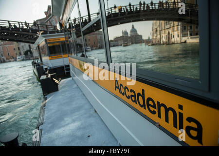 wharf of the vaporetto  at the Academia stop in the Grand Canal in Venice - Stock Photo