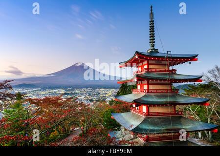Mt. Fuji, Japan from Chureito Pagoda in autumn.