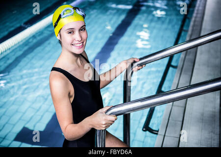 Female Swimmer Climbing Out Of The Pool Stock Photo Royalty Free Image 16603252 Alamy
