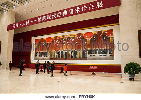 Painting showing the founding of the People's Republic of China at the National Museum of China in Beijing. - Stock Photo