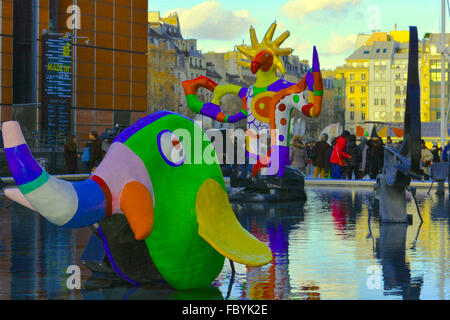 Playtime in Paris at the Fontaine Stravinsky - Stock Photo