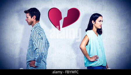 Composite image of frustrated couple ignoring each other - Stock Photo