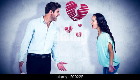 Composite image of screaming couple having argument - Stock Photo