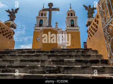 The Santuario Nuestra Señora de los Remedios in Cholula, was built in 1594 as a dedication to the Virgin of Remedies. - Stock Photo