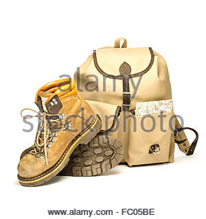 Vintage backpack and hiking boots - Stock Photo