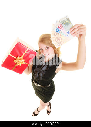 Woman with gift box and euro currency money banknotes. - Stock Photo