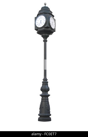 Street clock on a pole isolated over white - Stock Photo