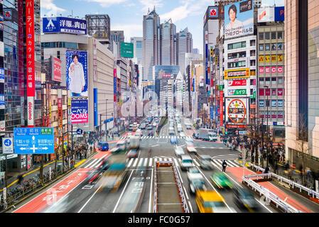 Traffic at Shinjuku district of Tokyo, Japan. - Stock Photo