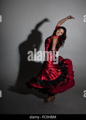 Young woman dancing flamenco - Stock Photo