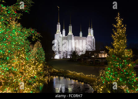 mormon temple in washington dc with xmas lights stock photo - Dc Christmas Lights