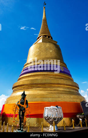 Golden stupa of Wat Saket, Bangkok, Thailand - Stock Photo