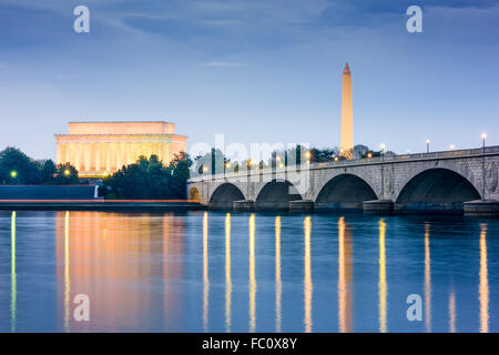 Washington DC, USA skyline on the Potomac River with Lincoln Memorial, Washington Monument, and Arlington Memorial - Stock Photo