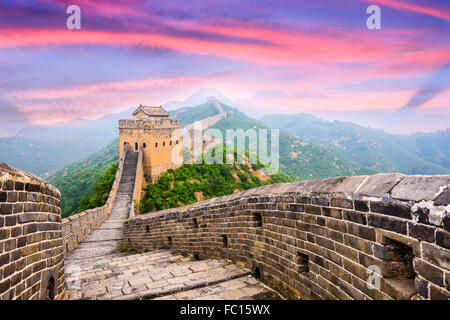 Great Wall of China at the Jinshanling section. - Stock Photo