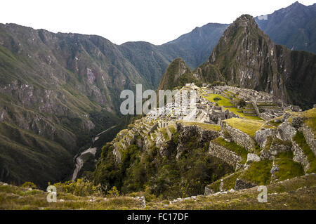Machu Picchu view in early morning - Stock Photo