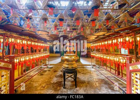 The interior of Man Mo Temple in Hong Kong, China. - Stock Photo