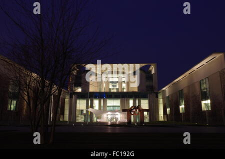 chancellery building in berlin at night - Stock Photo