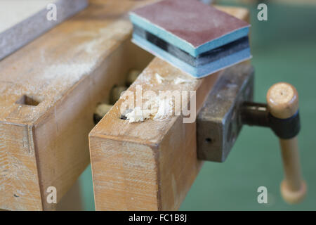 old wooden vise - close up - Stock Photo