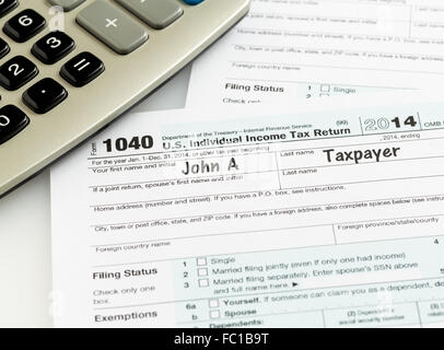 Pen And Calculator On 2014 Form 1040 Stock Photo 93458558 Alamy