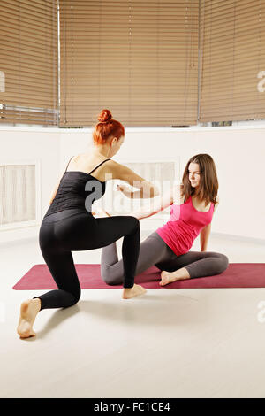 Yoga exercise in class - Stock Photo