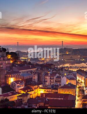 Lisbon cityscape at sunset - Stock Photo