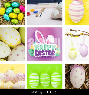 Composite image of easter eggs grouped together on straw - Stock Photo