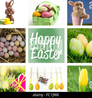 Composite image of speckled colourful easter eggs in a green wicker basket