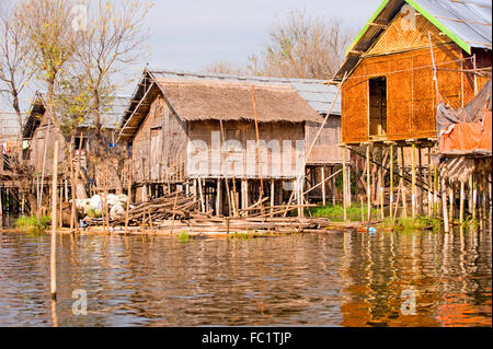 Typical stilted houses on Inle Lake, Myanmar - Stock Photo