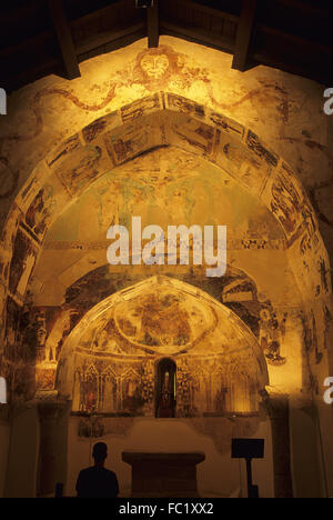 Gothic paintings, Santa Maria de Eristáin church , Valdorba. Navarre. Spain - Stock Photo