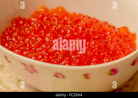 Fresh red caviar in white bowl for party - Stock Photo