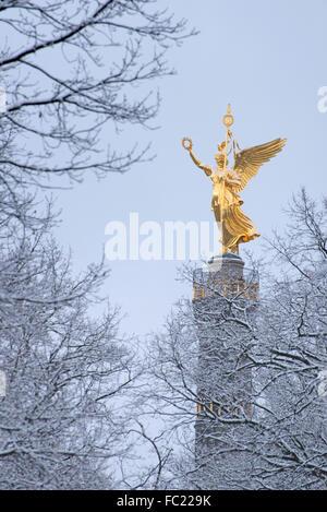 Berlin Siegessäule / Victory column Berlin Tiergarten in wintertime, Germany - Stock Photo
