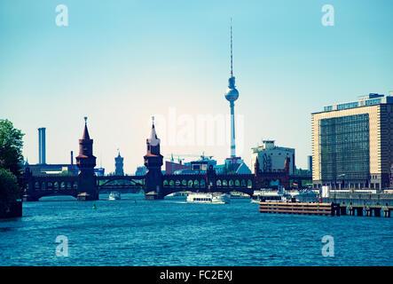Berlin Skyline Oberbaumbruecke - Stock Photo