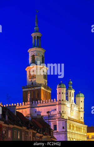 Old Market in Poznan, Poland by night - Stock Photo