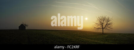 Panoramic - Early morning in haze - Stock Photo