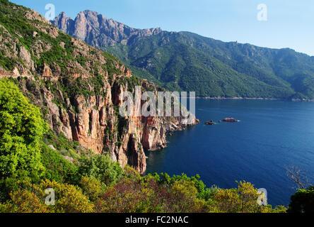 Cliffs in the Gulf of Porto - Corsica - Stock Photo
