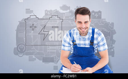 Composite image of happy repairman crouching while writing on clipboard - Stock Photo
