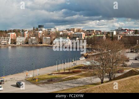 City by lake. - Stock Photo