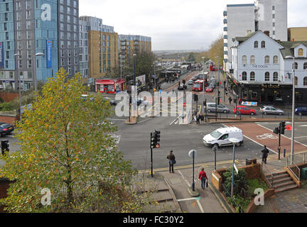 High level view of the complex junction between Hoe Street and Selbourne Road at Walthamstow Central in North East - Stock Photo
