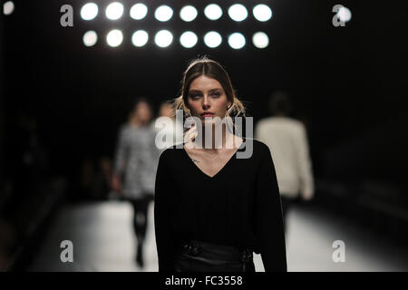 Berlin, Germany. 20th Jan, 2016. Models prepare for the show of Minx by German designer Eva Lutz during the Mercedes - Stock Photo