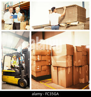 Composite image of cardboard boxes in warehouse - Stock Photo