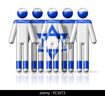 Flag of Israel on stick figure - Stock Photo