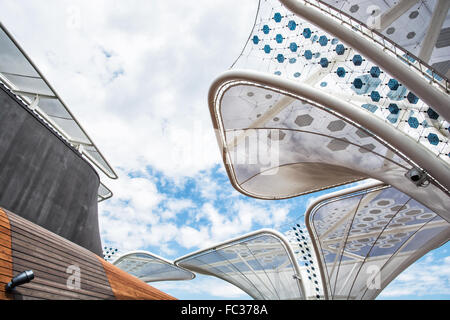 Futuristic roof on the exhibition Expo 2015, Milan, Italy. Outdoor space. - Stock Photo