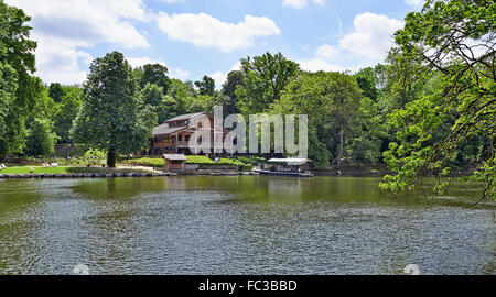 BRUSSELS, BELGIUM - MAY 018, 2015: Robinson Hut, Restaurant in the Cambre Woods, Brussels, Belgium. - Stock Photo