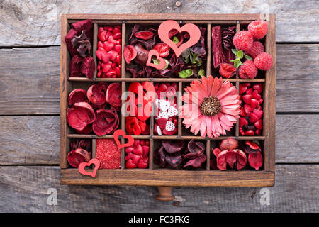Valentines day little things and sweet decorations in a box - Stock Photo