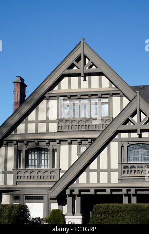 Coggeshall: Paycocke's  Facade of a large Tudor style house in Shaughnessy  neighbourhood in the city of Vancouver,