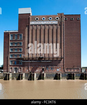 Clarence Flour Mill, beside River Hull, Hull, Yorkshire, England, UK - Stock Photo