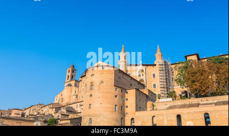 skyline with Ducal Palace in Urbino, Italy. - Stock Photo