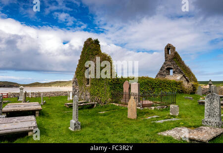 The remains of the church at Balnakeil Bay near Durness in the far north west of mainland Scotland - Stock Photo