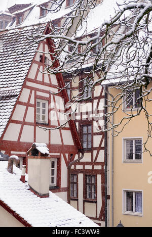 Historical center of Nuremberg, Germany in winter - Stock Photo